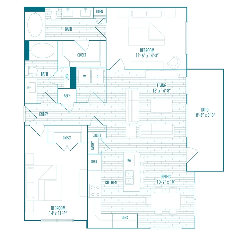 1,260 sq. ft. E floor plan