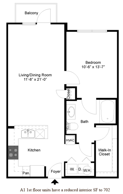 720 sq. ft. A2.1 floor plan