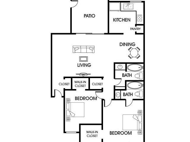 1,016 sq. ft. B2 floor plan