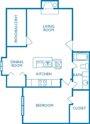 737 sq. ft. The Guadalupe floor plan