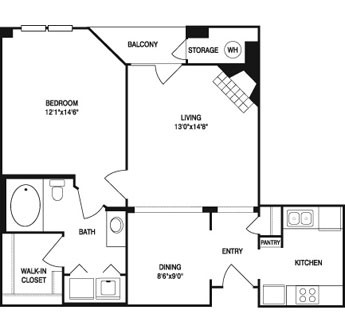 770 sq. ft. to 802 sq. ft. floor plan
