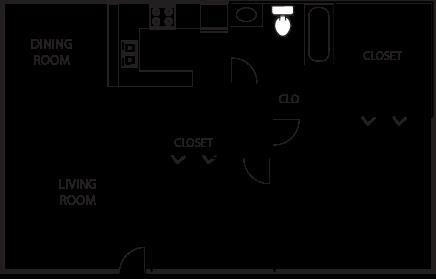 726 sq. ft. B1-50% floor plan