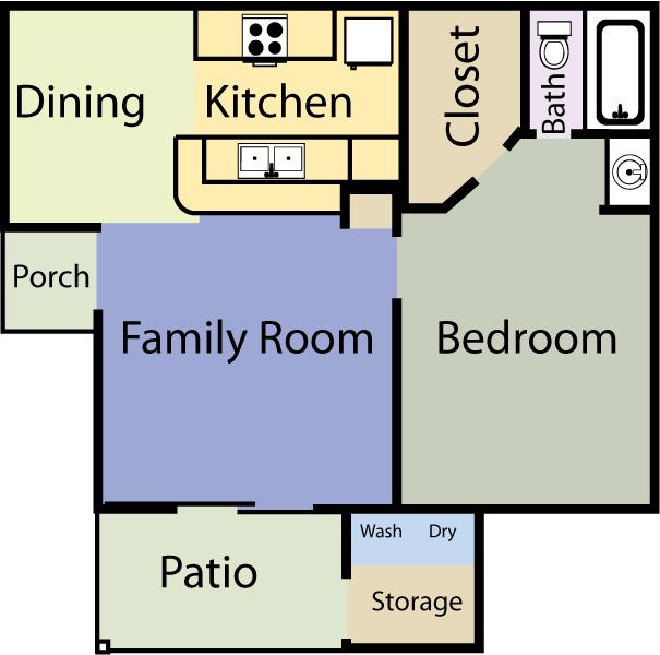 550 sq. ft. Liberty floor plan