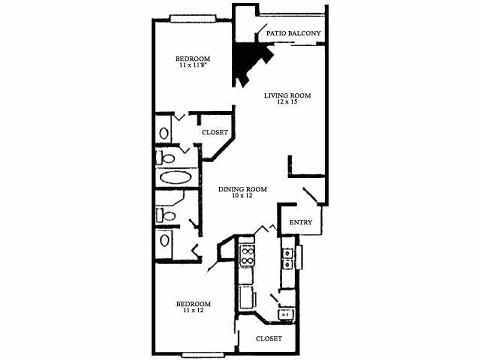 1,067 sq. ft. E floor plan