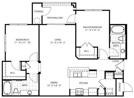 992 sq. ft. Carson floor plan