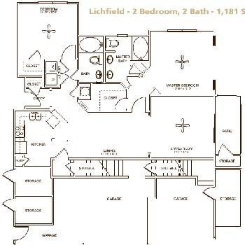 1,181 sq. ft. LICHFIELD floor plan