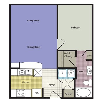 623 sq. ft. to 722 sq. ft. Barletto floor plan