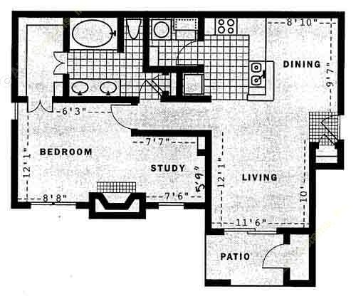 882 sq. ft. Solar floor plan