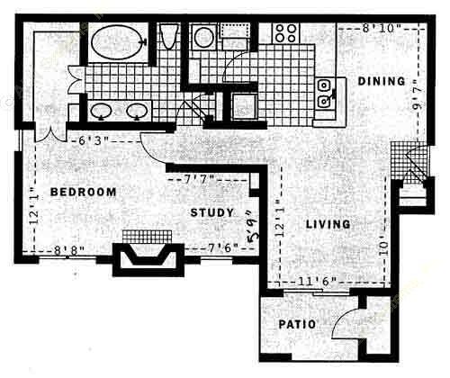 882 sq. ft. A3 floor plan