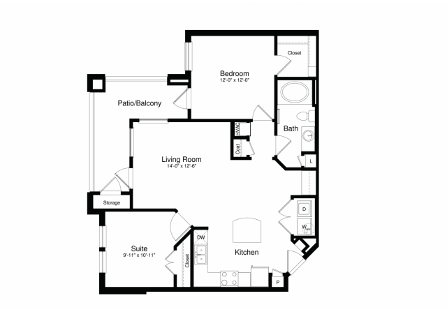 911 sq. ft. A3G floor plan