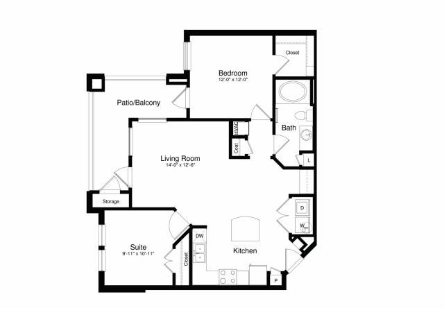911 sq. ft. A3G floor plan