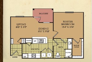 689 sq. ft. A1A floor plan