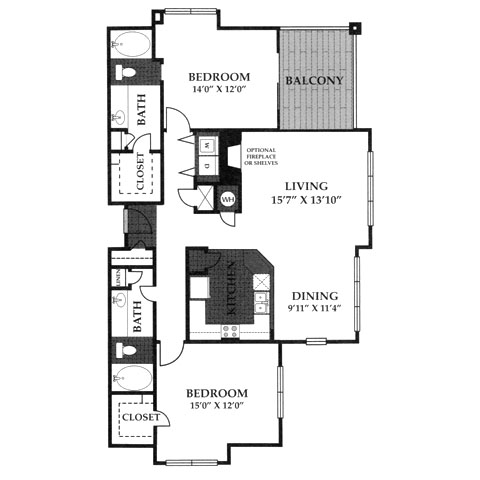1,360 sq. ft. B5 floor plan