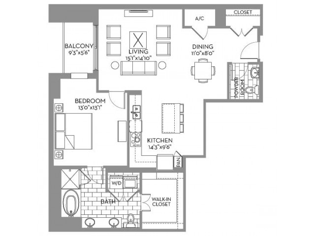 1,150 sq. ft. Douglas(A.12) floor plan