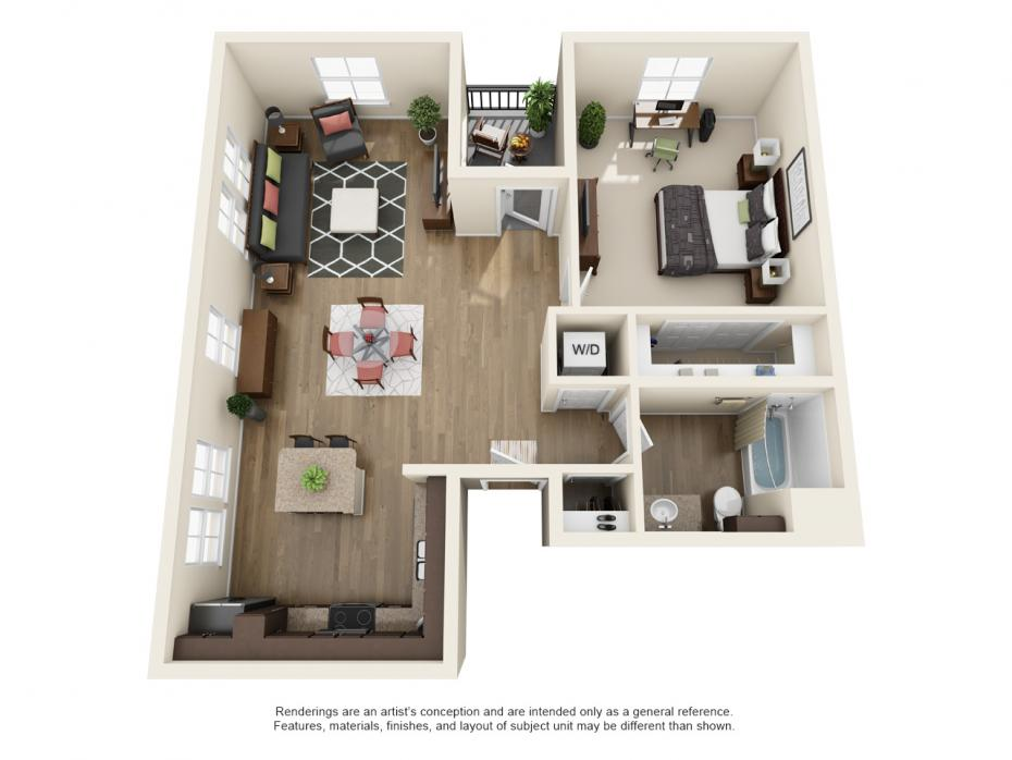 995 sq. ft. A5.1 floor plan