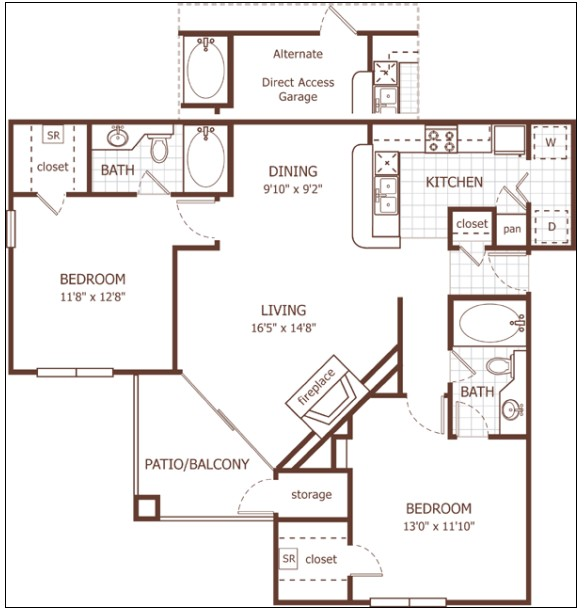 1,069 sq. ft. Eton floor plan