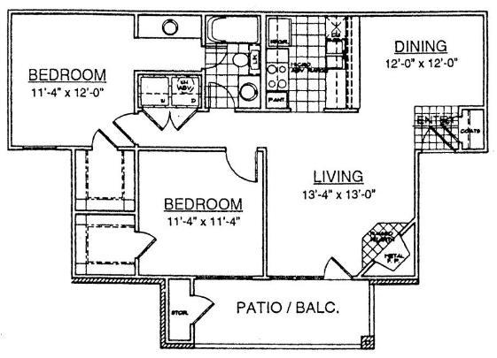 922 sq. ft. B1 floor plan