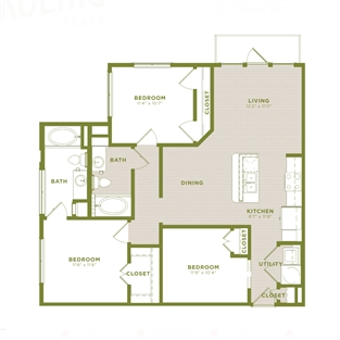1,115 sq. ft. C1 floor plan