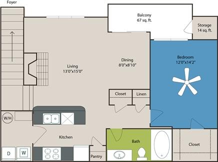 842 sq. ft. A4 floor plan