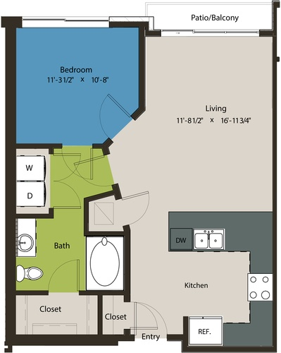 703 sq. ft. A1J floor plan