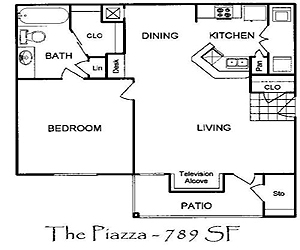 725 sq. ft. Piazza floor plan