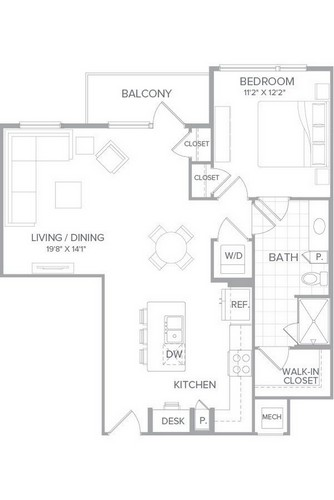 867 sq. ft. A1H floor plan