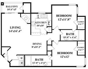 1,126 sq. ft. Nelson floor plan