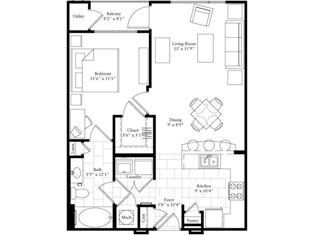 753 sq. ft. floor plan