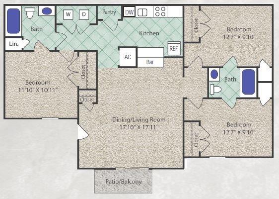 1,140 sq. ft. C1 floor plan