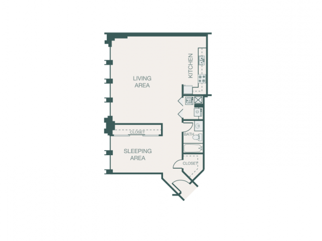 882 sq. ft. E2/E2A floor plan