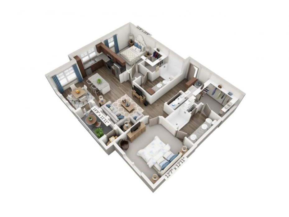1,144 sq. ft. Stretto floor plan