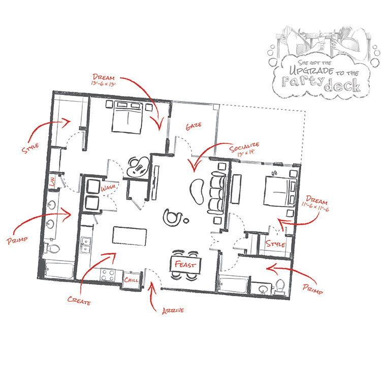 1,165 sq. ft. B2A floor plan