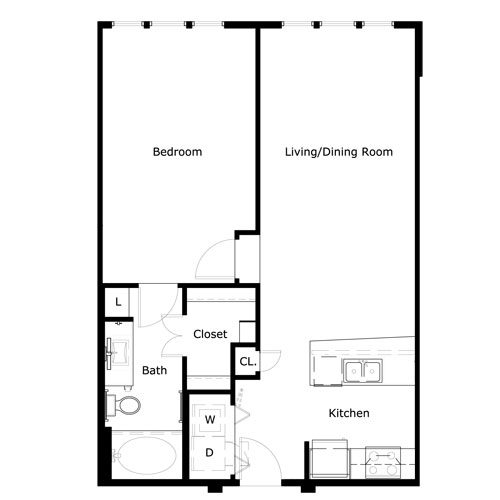 753 sq. ft. A0-II floor plan