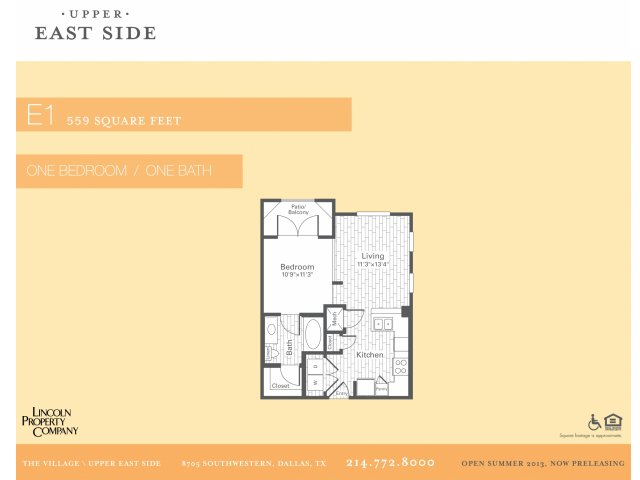 559 sq. ft. E1 floor plan