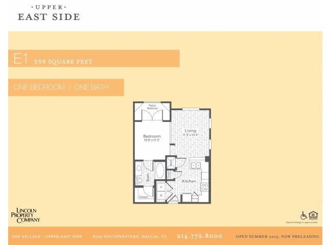 559 sq. ft. E1 floor plan
