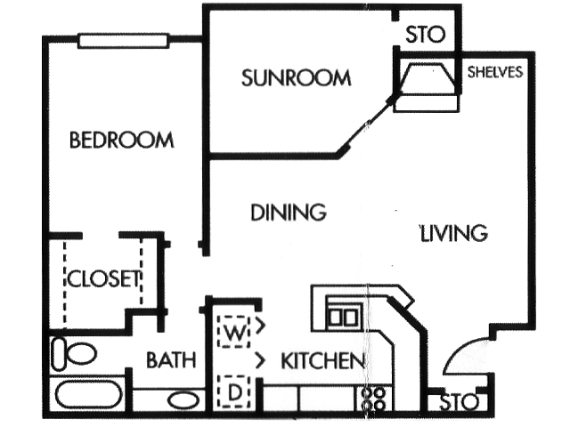 860 sq. ft. A4 floor plan