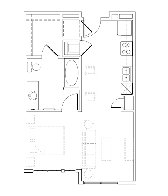 563 sq. ft. Oswald floor plan
