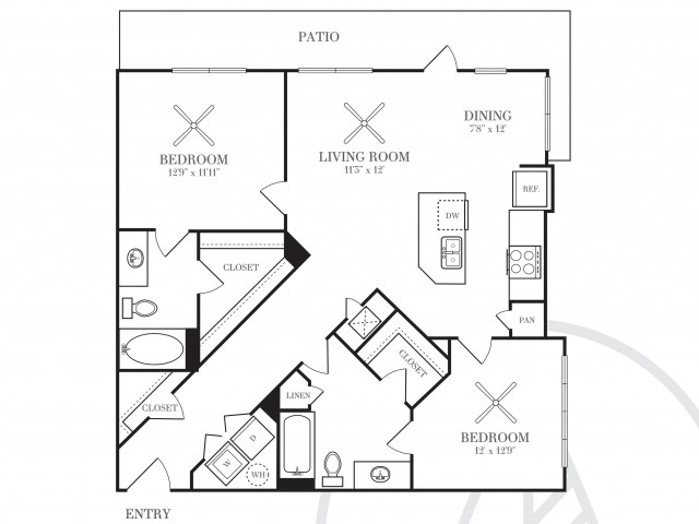 1,080 sq. ft. B2E floor plan
