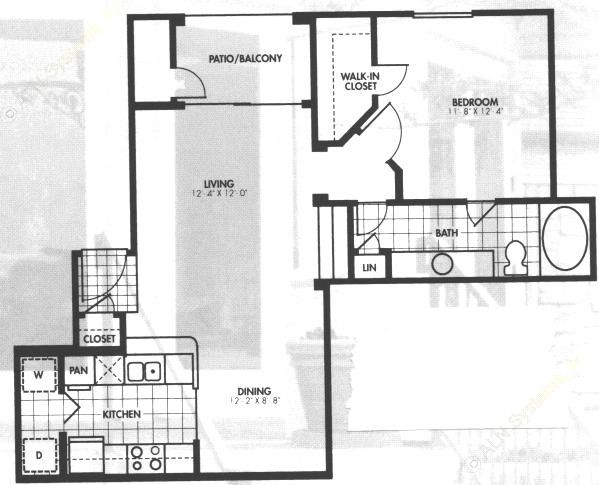 744 sq. ft. A3 floor plan