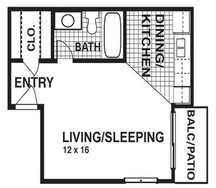 366 sq. ft. E1 floor plan