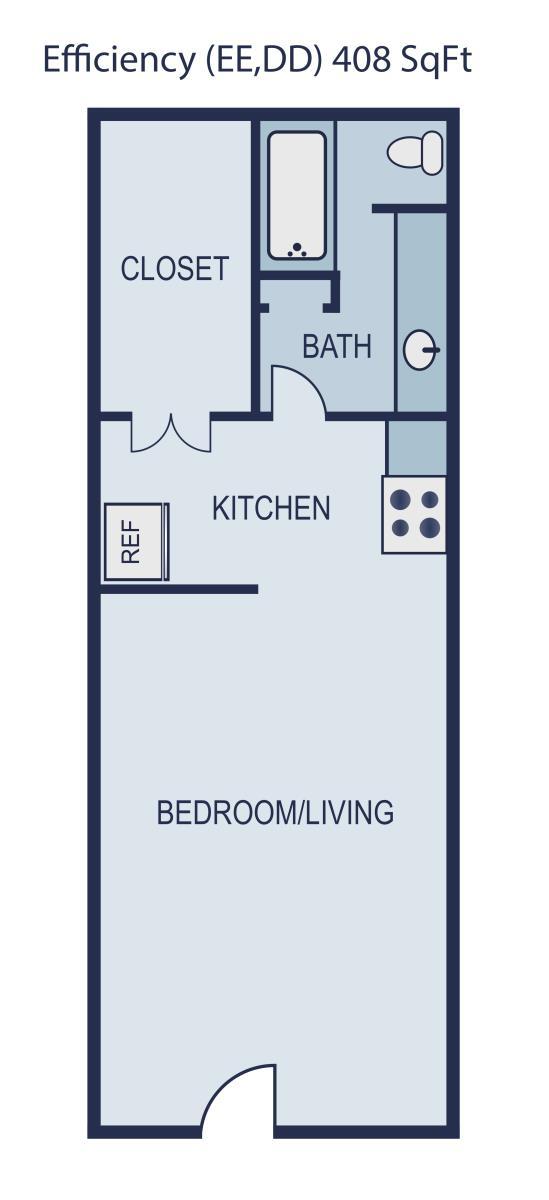 408 sq. ft. Hudson floor plan