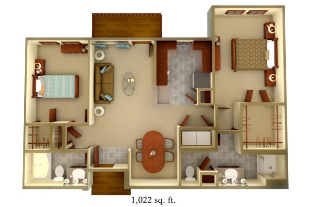1,022 sq. ft. B1 floor plan