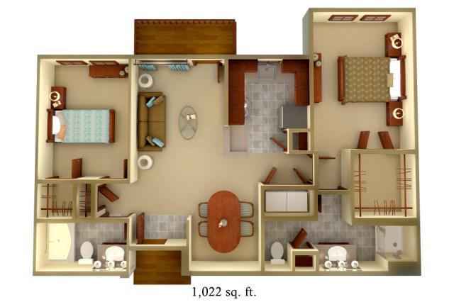1,022 sq. ft. B1 floor plan