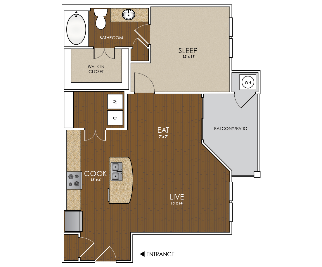 785 sq. ft. Longhorn floor plan