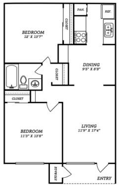 944 sq. ft. B3 floor plan