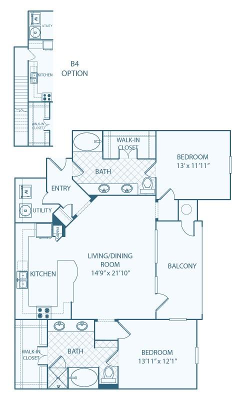 1,391 sq. ft. B4 floor plan