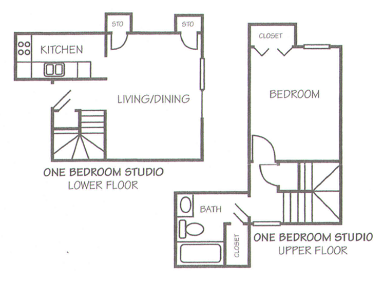661 sq. ft. A-1 floor plan