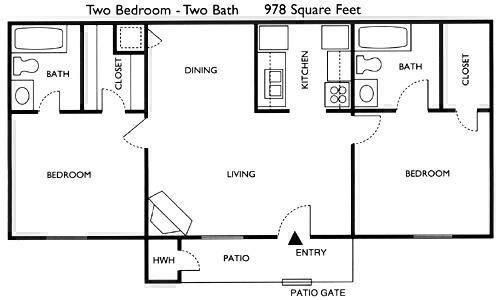 978 sq. ft. Ash floor plan