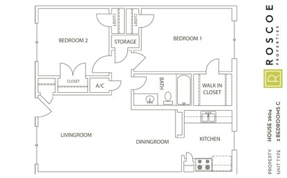 832 sq. ft. B2 floor plan