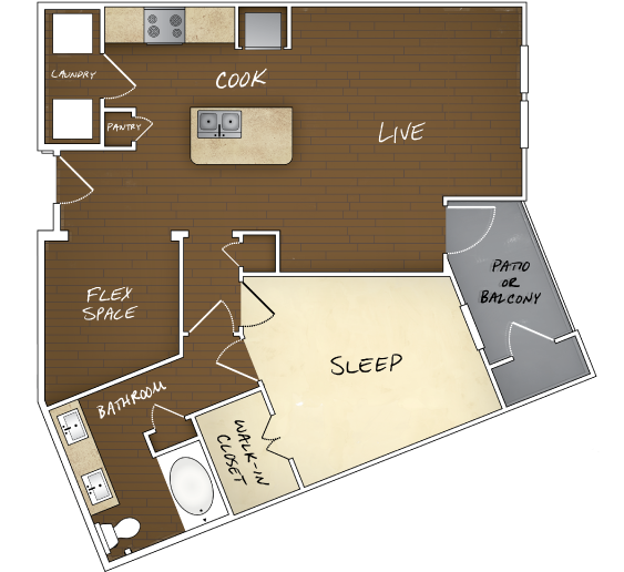901 sq. ft. A7 floor plan